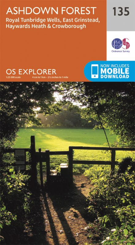 OS Explorer 135 - Ashdown Forest, Royal Tunbridge Wells, East Grinstead, Haywards Heath & Crowboroug